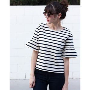 Jcrew striped bell sleeve top